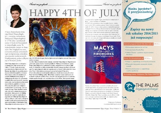 Szkoła językowa The Palms publikuje regularnie w magazynie Teraz Wilanów.